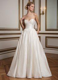 Wholesale Elegant Simple A Line Wedding Dresses With Pocket Strapless Sweetheart Satin Wedding Dresses Court Train Tiers Skirt Bridal Gowns