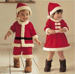 Wholesale DDA3313 sets Hot Sale Santa Claus Costume Baby Christmas Costume Clothing Sets High Quality Years Girl Boy Santa Costume