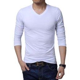Wholesale Newest design fashion long sleeve v neck solid men t shirt plus size M L XL XXL XL XL XL BT101