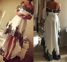 Wholesale Off Shoulder Party Dresses black white High Low Lace Appliques Cheap Prom Dress Zipper Back custom made women s Homecoming Cocktail Gowns