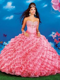 Wholesale New Design Colorful Sweetheart Skirts Quinceanera Dresses Ball Gown Organza Crystal Beaded Floor Length With Jacket Vestido De Festa