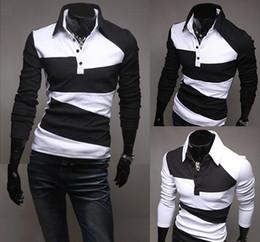Wholesale 2014 Autumn Men Polo Shirt With Long Sleeve Front Button Sport Suit Korean Fashion Clothing Irregular Pattern Colors Size