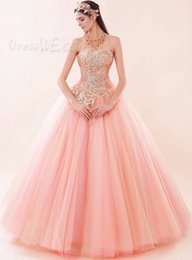 Wholesale Pink Sexy Sweetheart Lace up Tulle Luxury Bling Crystal Beaded Sweet Quinceanera Dresses Masquerade Prom Quinceanera Ball Gowns