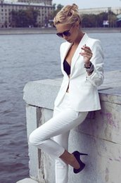 Wholesale Custom Fashion Ivory Women Tuxedos Shawl Lapel Suits For Women One Button Business Women Suits