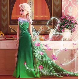 Wholesale High Quality New Frozen ELSA Princess Printed Dresses Kids Clothing Children Girls Snow Queen Cosplay Party Dress Fancy Costume