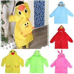 Wholesale Cute Children Raincoat Animals Cartoon Rainwear Waterproof Polyester Kids Raincoat EUC