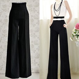 Wholesale Women Sexy Fashion Casual High Waist Flare Wide Leg Long Pants Palazzo Trousers