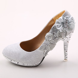 Wholesale 4 inch High Heels Wedding Shoes Lady Formal Dress Women s Fashion Dance Shoes Performances Prom Shoes DY899 Silver