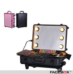 Wholesale Professional Portable Trolley case makeup artist case Fashion cosmetic tools storage box With Mirror