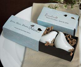 Wholesale sets wedding souvenirs of the newest design ceramic love birds salt and pepper shaker favours