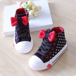 Wholesale 2015 spring autumn child canvas shoes high female child princess single shoes dot bow tie girls fashion sweet sneakers size23