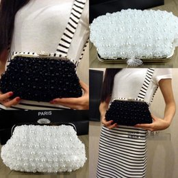 Wholesale In Stock No Risking Wedding Accessories White pearls Floral Party Prom Hand bags Bridal Hand Bags