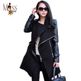 Wholesale TOP quality new fashion trend Lady punk quilted lining Streetwear Women Outwear Clothes Spliced Faux Leather sleeve Jacket Coat
