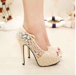 Wholesale 2015 New Arrival Lace Crystal Peep toe Summer High Heel Bridal Shoes White Lace Wedding Shoes
