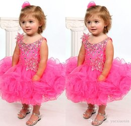 Wholesale 2016 Little Girls Pageant Dresses Short Ruffles Organza Beaded Cute Toddlers Cupcake For Birthday Party Gowns Princess Ball Gowns Formal