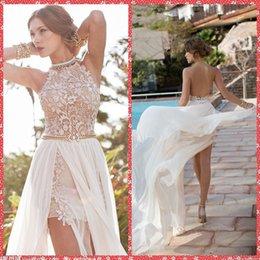 Wholesale 2015 Summer Beach Halter Embroidery Lace Sleeveless Mini Short Wedding Dresses Appliques Chiffon Chapel Train Bridal Gowns Backless Cheap