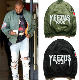 Wholesale KANYE WEST YEEZUS tour MA jackets limit edition black green colors yeezy flight parkas BOMBER Confederate Rebel Civil War Flag Jacket Coat
