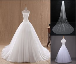 Wholesale Cheap Wedding Dresses Wedding Veil Petticoat Real Image In Stock Ready To Ship Lace Strapless Tulle Layers Bridal Gowns Court Train