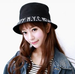 Wholesale Korea NYC newyork letter folding bucket hats sun hat Korean men and women spring and summer sun hat child