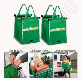 Wholesale 100PCS HHA712 New Listing GRAB BAG In The Supermarket Shopping Bags Green Shopping Cart BAG Trolley Folding BAG