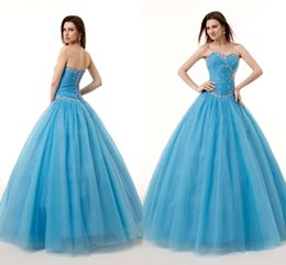 Wholesale Fashion Light Blue Quinceanera Dresses Ball Gown With Sweetheart Beaded Crystal Sequins Lace Up Floor Length Debutante Dress New Arrival LQ