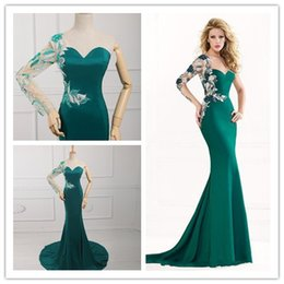Wholesale Hot Sweetheart Neck Embroidery Dresse backless with one Long sleeve Floor Length chiffon sheer back Evening Prom Part