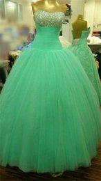 Wholesale Hermosa Casa de la Moneda del corsé del vestido de bola Dulces Dieciséis Vestidos de quinceañera cristales rebordeó Tulle Vestidos Vestidos Debutante