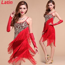 Wholesale 2015 Stage Dance Wear Women Latin Dress Women Latin Costume Dresses Tango Samba Skirts Fringe Dancewear Red Blue