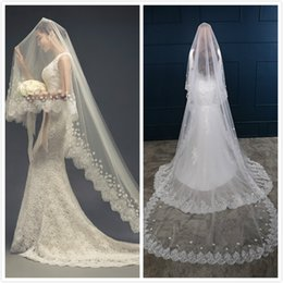 Wholesale Hot Selling Voiles de mariage nuptiale One Layer m White Ivory Lace Appliqued Voiles nuptiales Tulle Wedding Veil En Stock