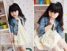 Wholesale 2015 Brand New Baby Children Girl s Kids Long Sleeve Leisure Jacket Blue Cotton Washed Denim Lace Tullet
