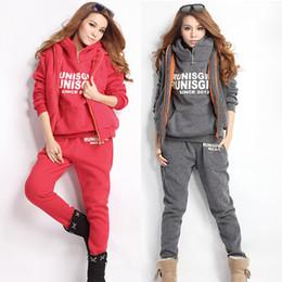 Wholesale Brand women sport suit winter new Fashion Hooded Women s Tracksuit piece set Sweat Suits high qiality coat pants vest