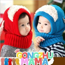 Discount wholesale knitted cashmere hat 2015 Cute Boys and Girls Hats Stitching Warm Cashmere Knit Scarf Korean Version Style Cartoon Sheep Windproof Hat Shape