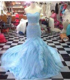 Wholesale 2014 mermaid strapless lace up sleeveless cascading ruffles dress