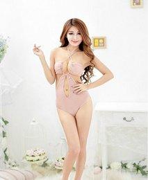 Wholesale Sexy Lingerie nude cotton open crotch teddy bikini one piece