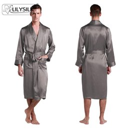 Wholesale Momme Lapel Collar Long Silk Robe for Men Pure Silk Dressing Gown Lilysilk