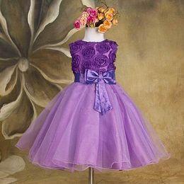 Wholesale 2015 new Girls Dress Princess dress children s wear Party veil Big bow girl wedding flower Baby girls dress pink white