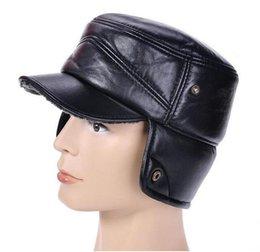 Wholesale 2014 Autumn and winter hat Men s Military Hats Real Leather Beret Cap Sheepskin super warm Golf Hat Cabbie Flat Bonnet thicken