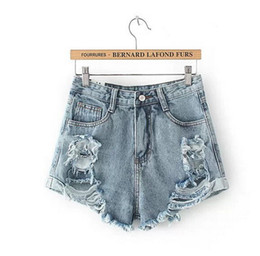 Womens Distressed Jean Shorts