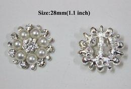 Свободная кнопка Rhinestone Flatmm оптовой продажи 28mm 40pcs / lot перевозкы груза с перлой для приукрашивания венчания цветка волос BYM05018