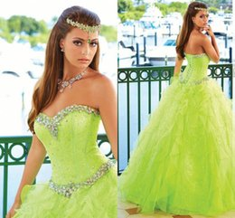 Wholesale Exquisite Beautiful Ball Gown Prom Dresses Organza Beaded TIFF Crystal Olive Green Quinceanera Dress Beaded Cascading Ruffles