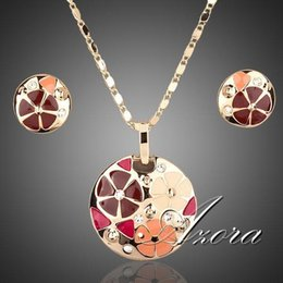 Wholesale AZORA K Real Gold Plated Multicolour Flower Design Stud Earrings and Pendant Necklace Jewelry Sets TG0004