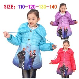 Wholesale Frozen Children s Elsa olaf Down Coat Thickening Jirong Girl Long Cotton Padded Clothes Kids Down Wadded Jackets Outwear hats scarves sets