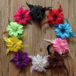 Wholesale Diy hair accessories baby girls feather flower hair clips handmade fabric flowers for headband with clips Children s hair accessories