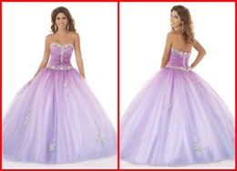 Wholesale 2014 Magnetic Quinceanera Dresses Sweetheart Back Lace Up Amazing Applique And Stunning Beaded Sweep Train Tulle Formal Prom Gowns