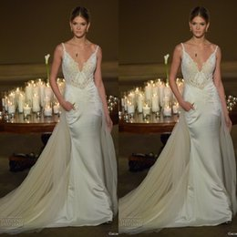 Wholesale 2015 Galia Lahav Lace Spaghetti Mermaid Wedding Dresses Sexy Tulle Detachable Skirt With Pocket Court Trian Bridal Gown Custom Made EN11275