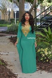 Wholesale African Style Arabic Moroccan Kaftan Abaya Evening Dress Mermaid Gold Beaded Long Sleeves Dubai Prom Dresses Custom Made Vestidos