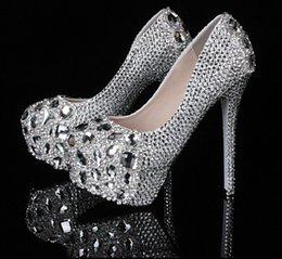 Wholesale 2016 Silver Graduation Party Prom Shoes High Heel Crystals Rhinestones Bridal wedding shoes Diamond Lady Shoes for Wedding Party