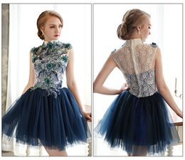 Wholesale New Sexy Lace Embroidery Short Paragraph Bride Toast Clothing Bridesmaid Dress Dinner Banquet Annual Performance Dress