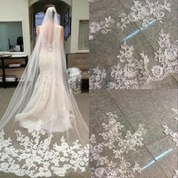 Wholesale Elegant Stock White Ivory Lace Wedding Veils With Comb Chapel Train Applique Cheap Bridal Accessories Bridal Gowns Ball Veil