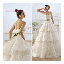 Wholesale Customize Fashion Ivory Sweetheart Lace Corset Tiered Skirt Beaded Belt Ball Gown Organza Wedding Dress White Vestidos De Noiva